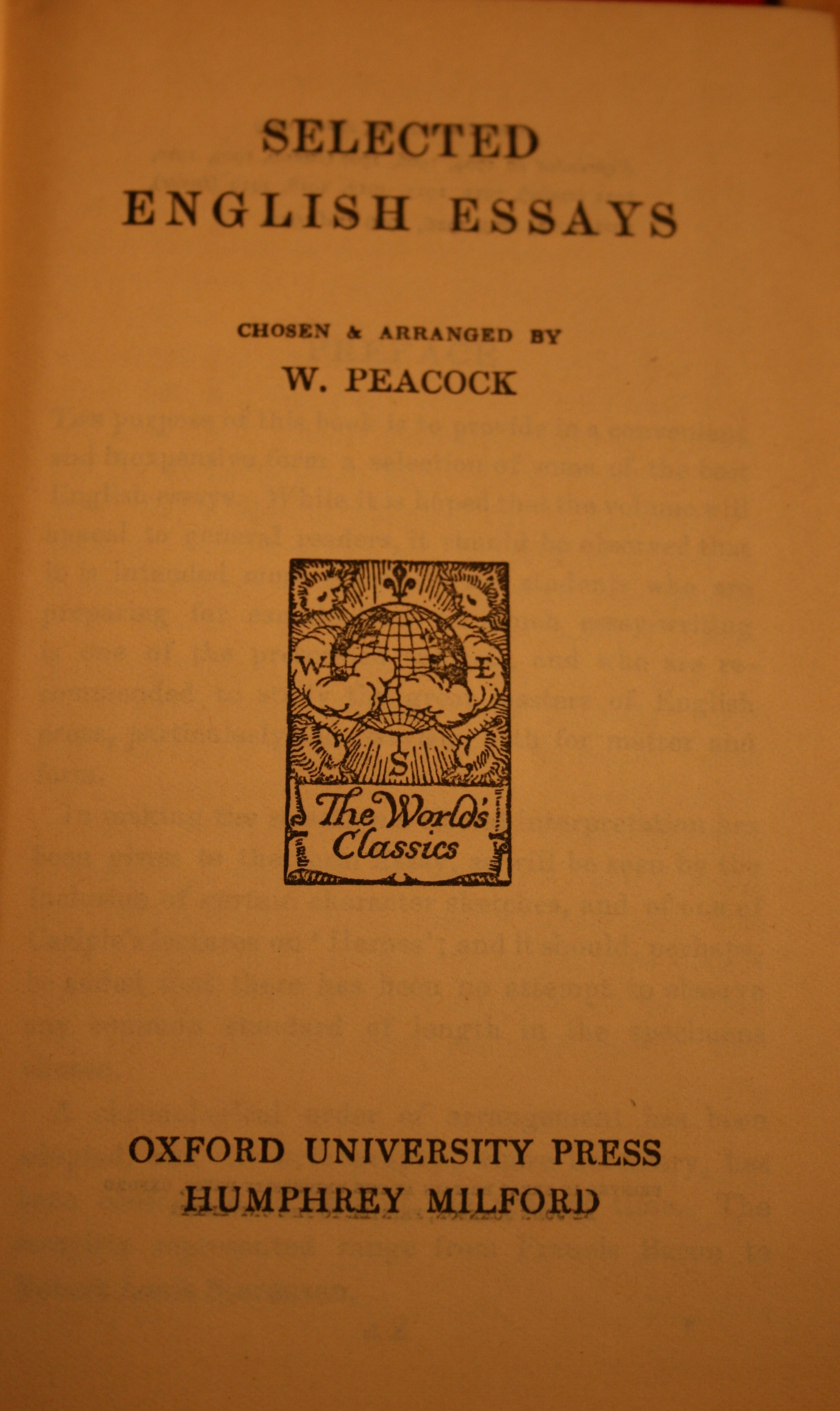 selected english essays peacock Similar items selected english essays : chosen and arranged by: peacock, william, 1863- published: (1911) selected english essays /.