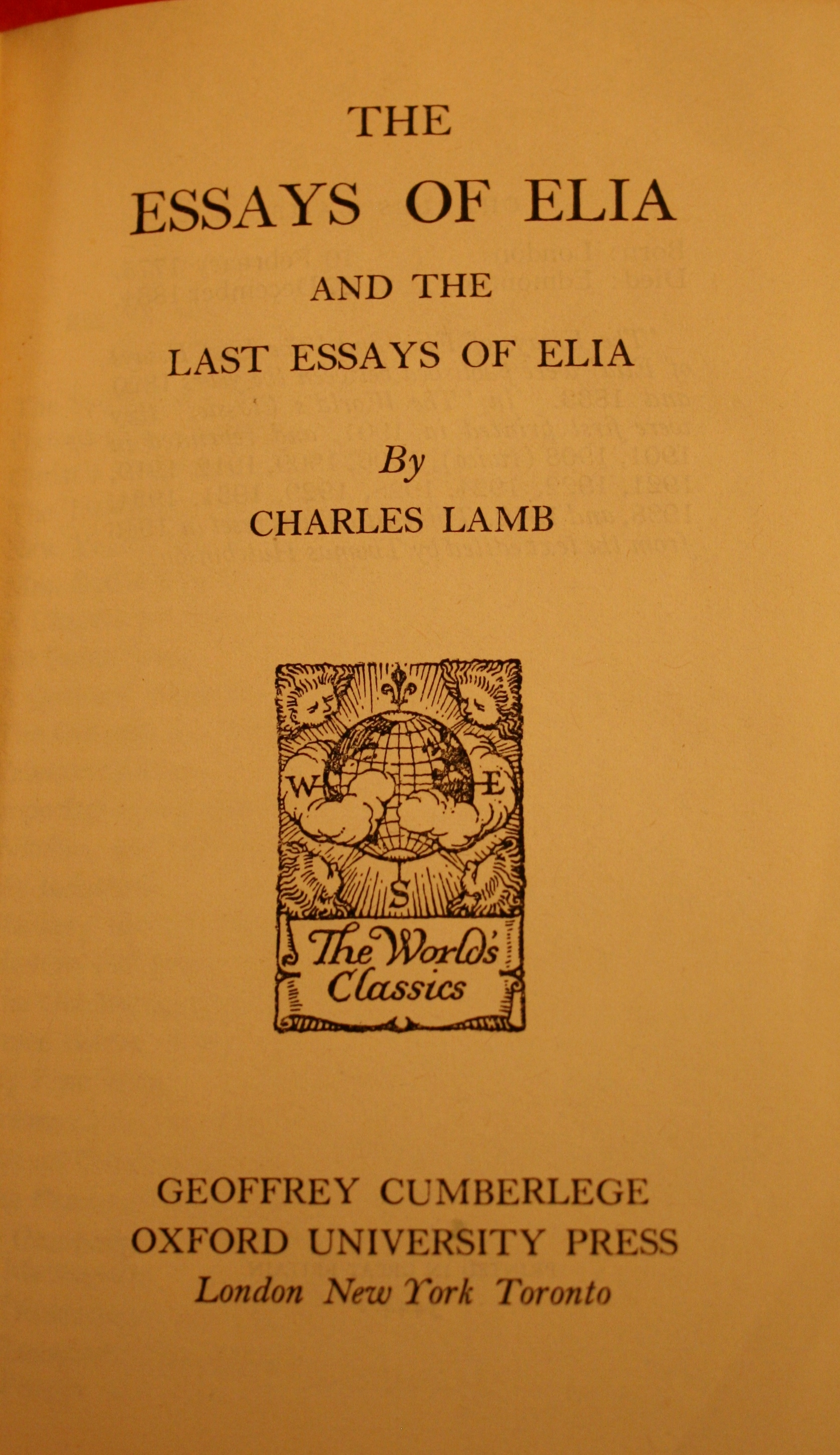 last essay of elia Because in my last i tried to divert thee with some half-forgotten humours of some   oxford in the vacation is taken from the essays of elia, first published as.